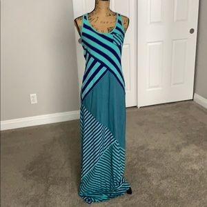 Blue and teal striped Guess dress